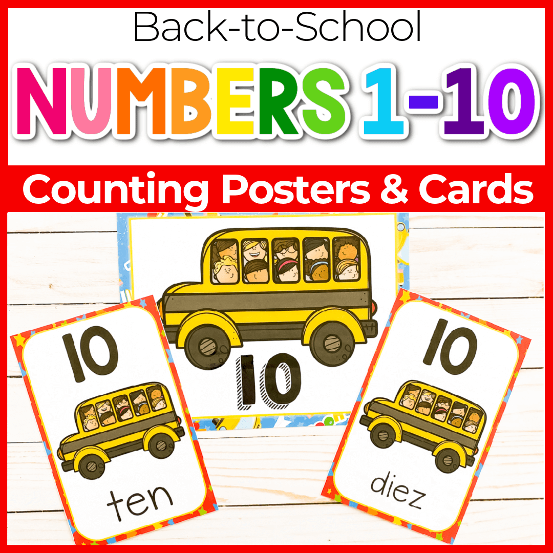 Back to School Theme Free Printable Number Posters 1-10