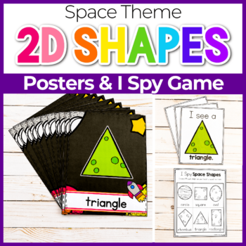 Outer Space Preschool Theme Free Printable 2D Shape Posters featured image