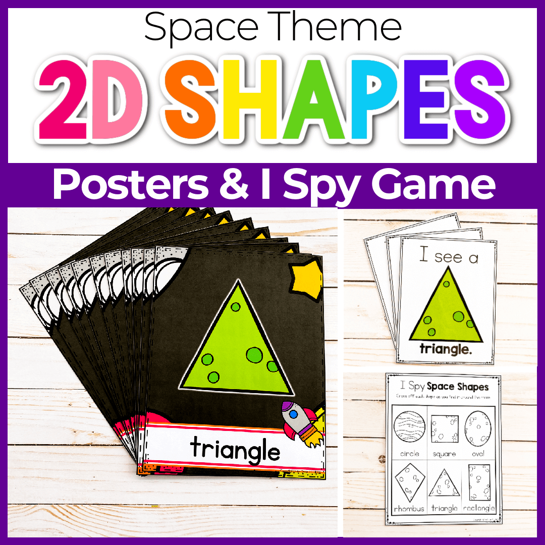 Outer Space Preschool Theme Free Printable 2D Shape Posters