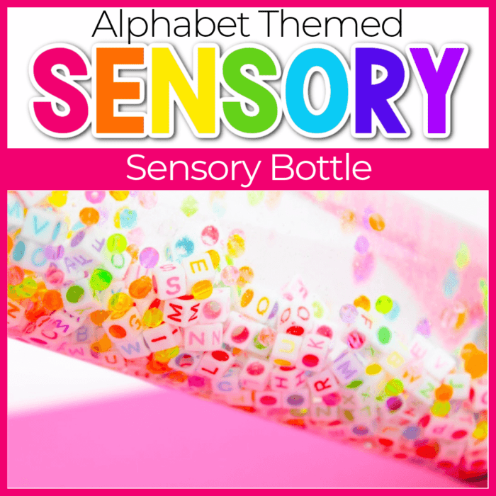 Alphabet I Spy Sensory Bottle for preschoolers. Practice letter identification with your preschoolers using this EASY DIY sensory bottle.