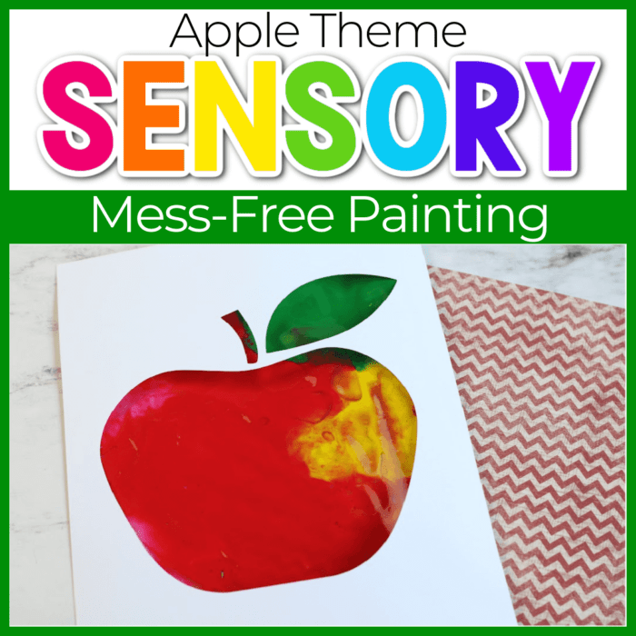 sensory painting in a bag apple theme featured image