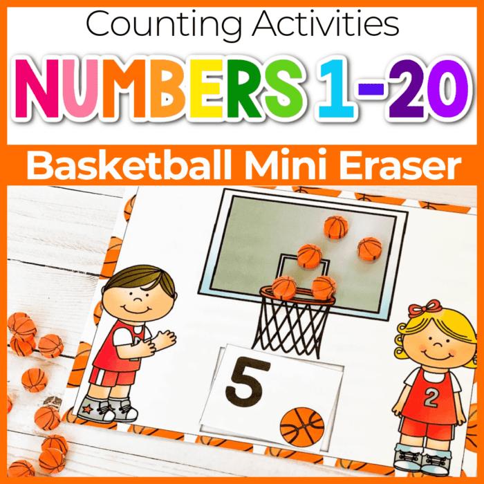 Basketball mini eraser free printable counting mat for preschool and kindergarten