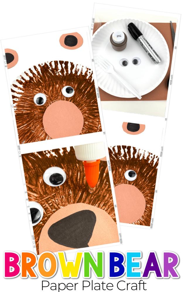Paper Plate Brown Bear Sensory Craft for Kids