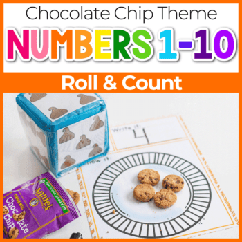 Chocolate chip cookie roll and count dice game for counting Featured Image