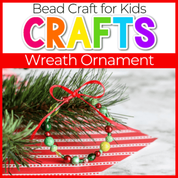 Christmas wreath ornament made with beads and ribbon Featured Image