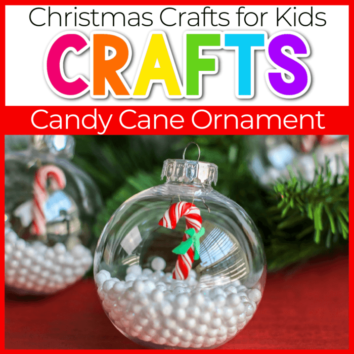 Christmas clear ornament filled with styrofoam balls and miniature candy cane ornament Featured Image