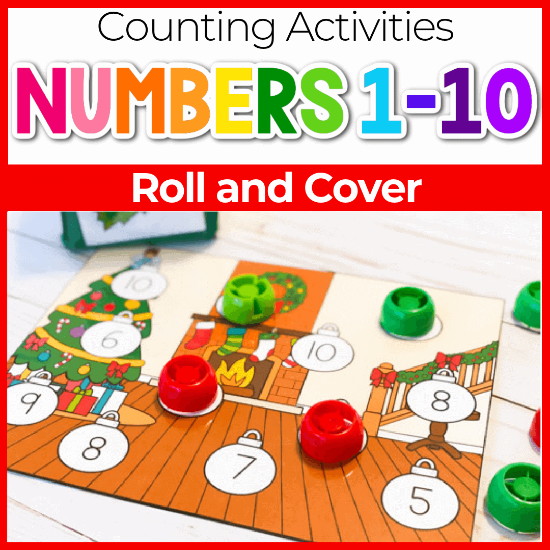 Christmas Roll and Cover Preschool Number Recognition Games