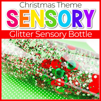 Christmas theme sensory bottle for preschoolers and toddlers featured image