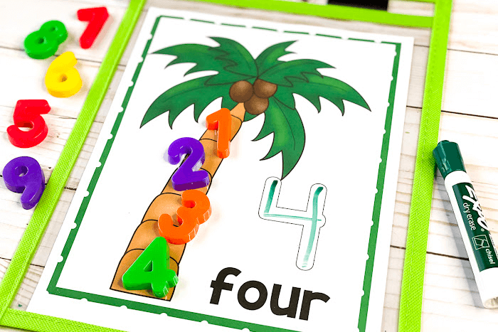 Overhead view of the coconut tree counting mat for the number 4.