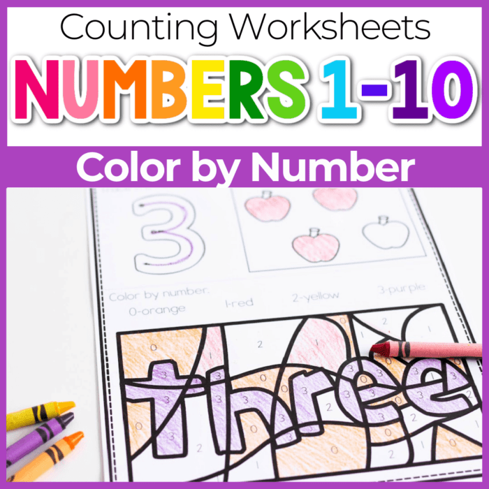 numbers 1-10 color by number worksheets showing number 3 Featured Image