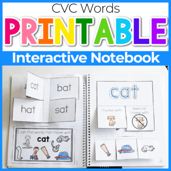 CVC Words interactive rhyming notebook for kindergarten free printable PDF Featured Image