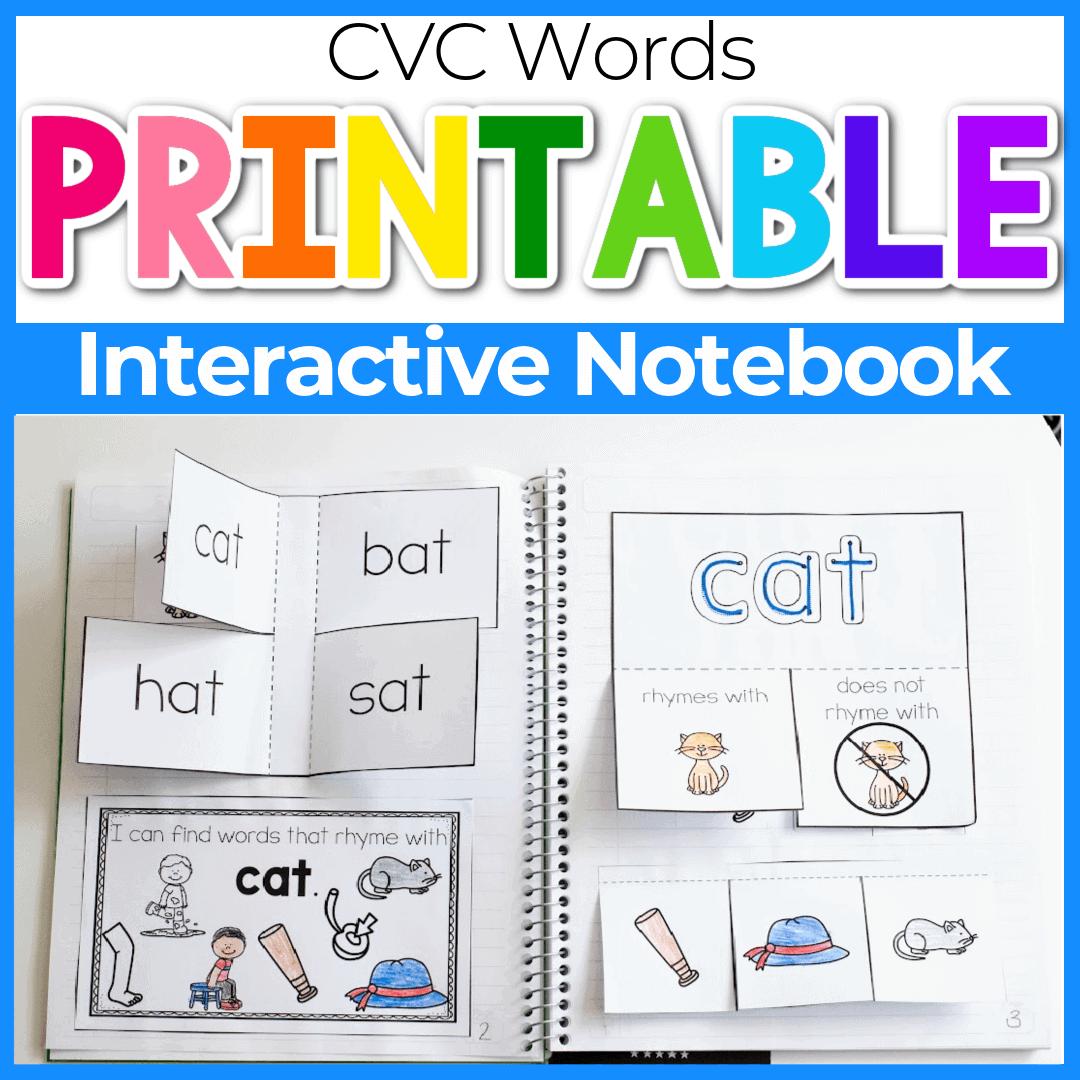 CVC Words Interactive Notebook for Kindergarten