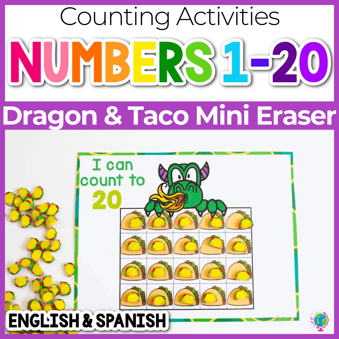 Printable Preschool Counting Grids for Dragons Love Tacos
