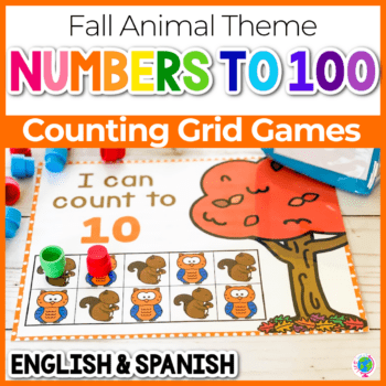 forest animal squirrel and owl counting grids for numbers 10, 20 and 100