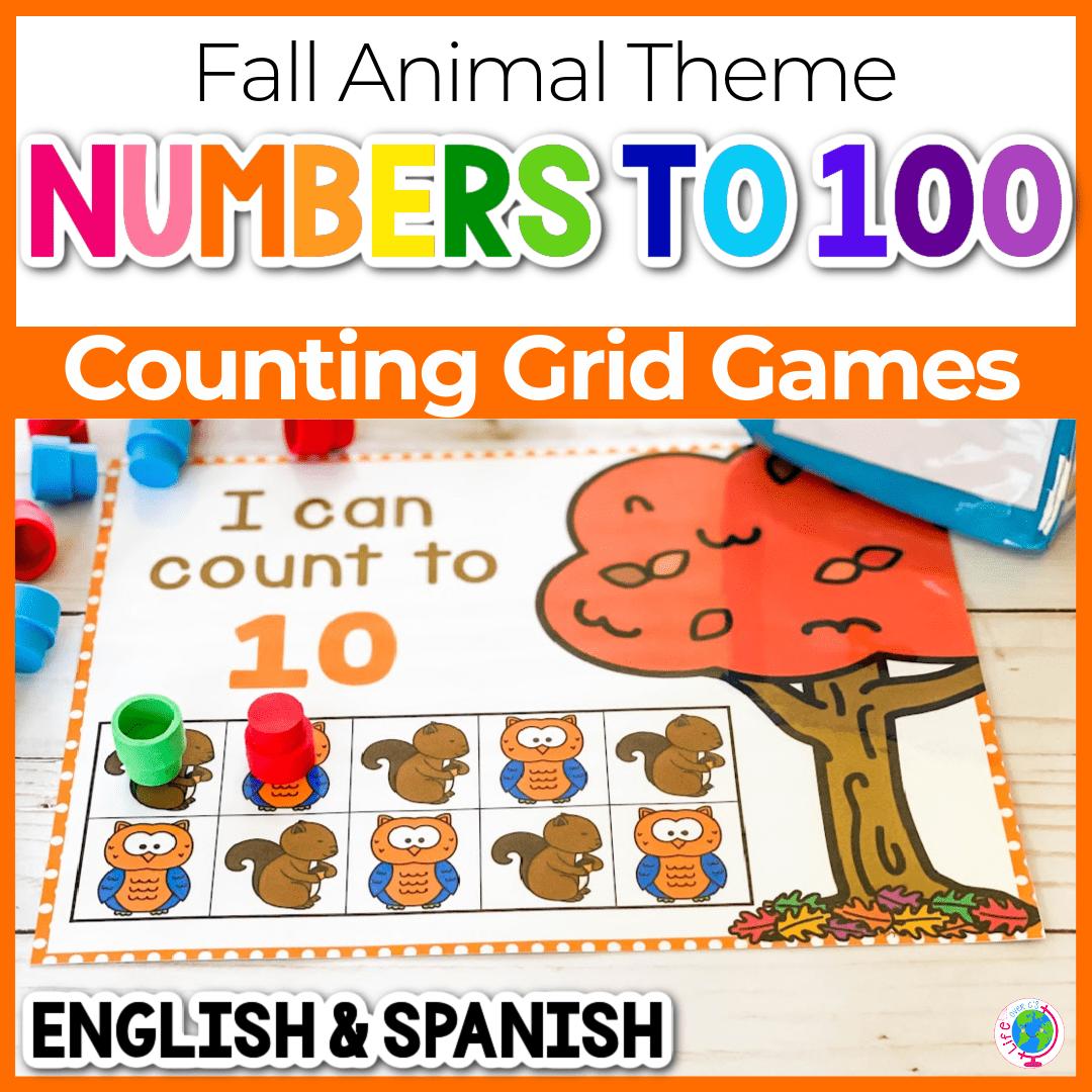 Squirrel Mini Eraser Fall Preschool Counting Activity