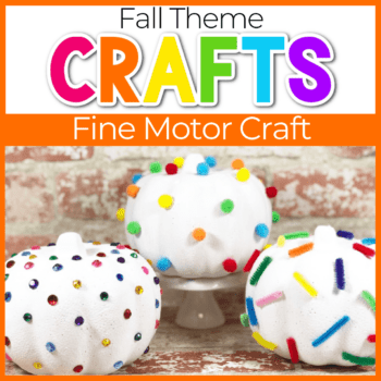 white foam pumpkins with pom poms, pipe clean and gems for pumpkin decorations Featured Image