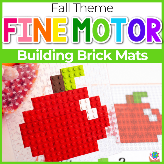 Free printable fall theme LEGO mats for fine motor activity Featured Image