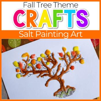 Fall tree salt painting for kids.