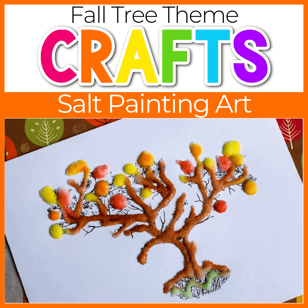 Salt Paint Fall Tree Activities for Preschoolers