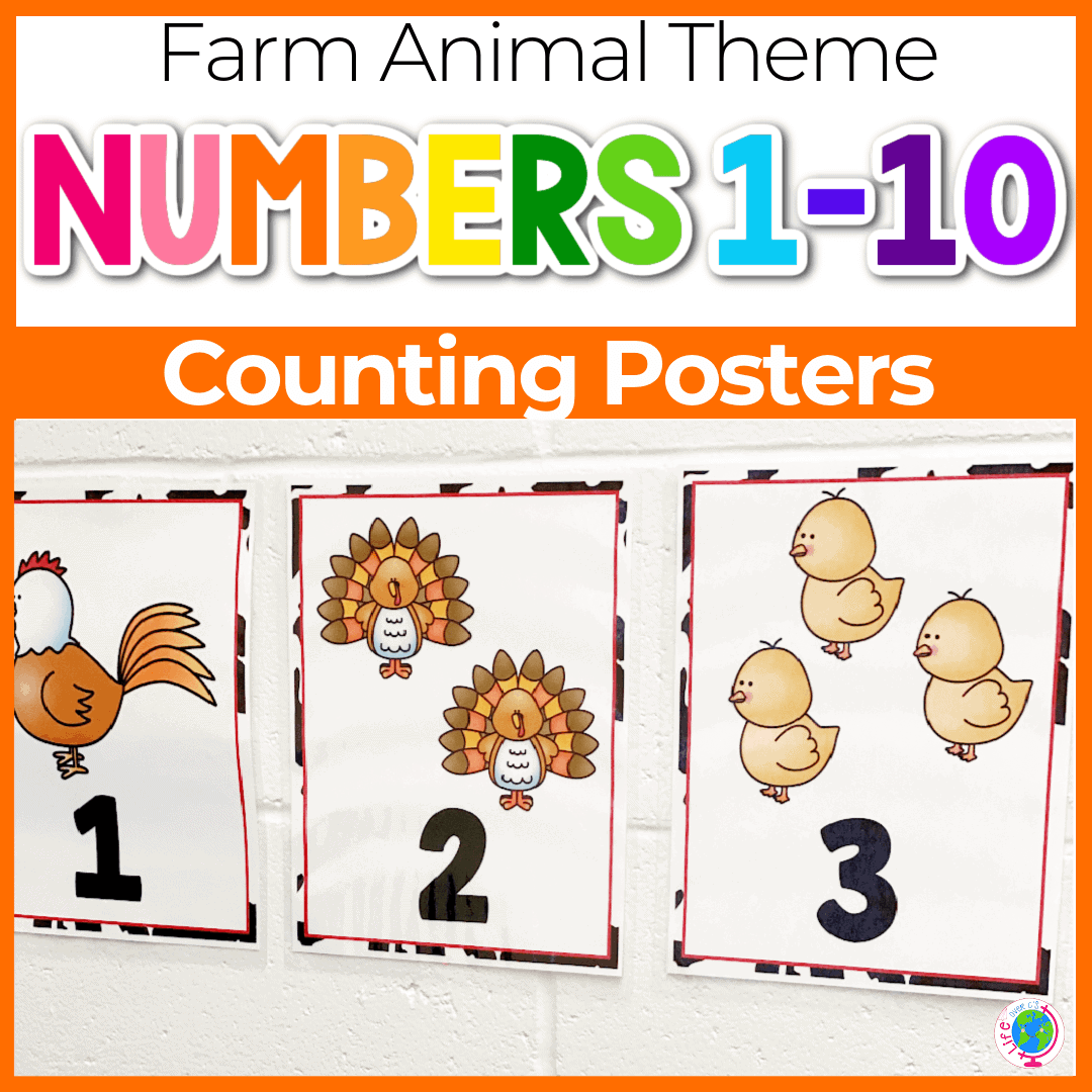 Free Farm Animal Number Posters for Preschool