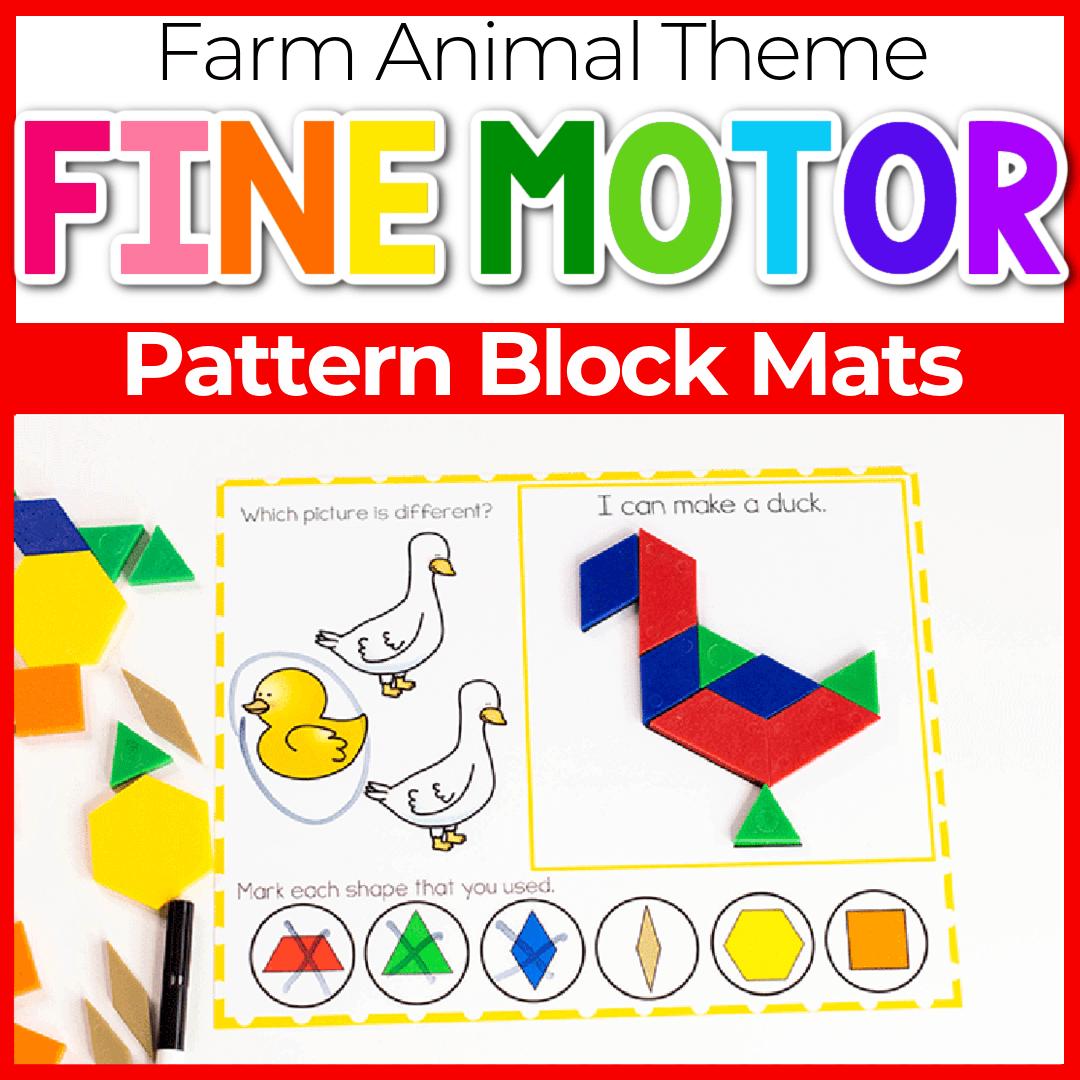 Free Printable Farm Animal Pattern Block Mats