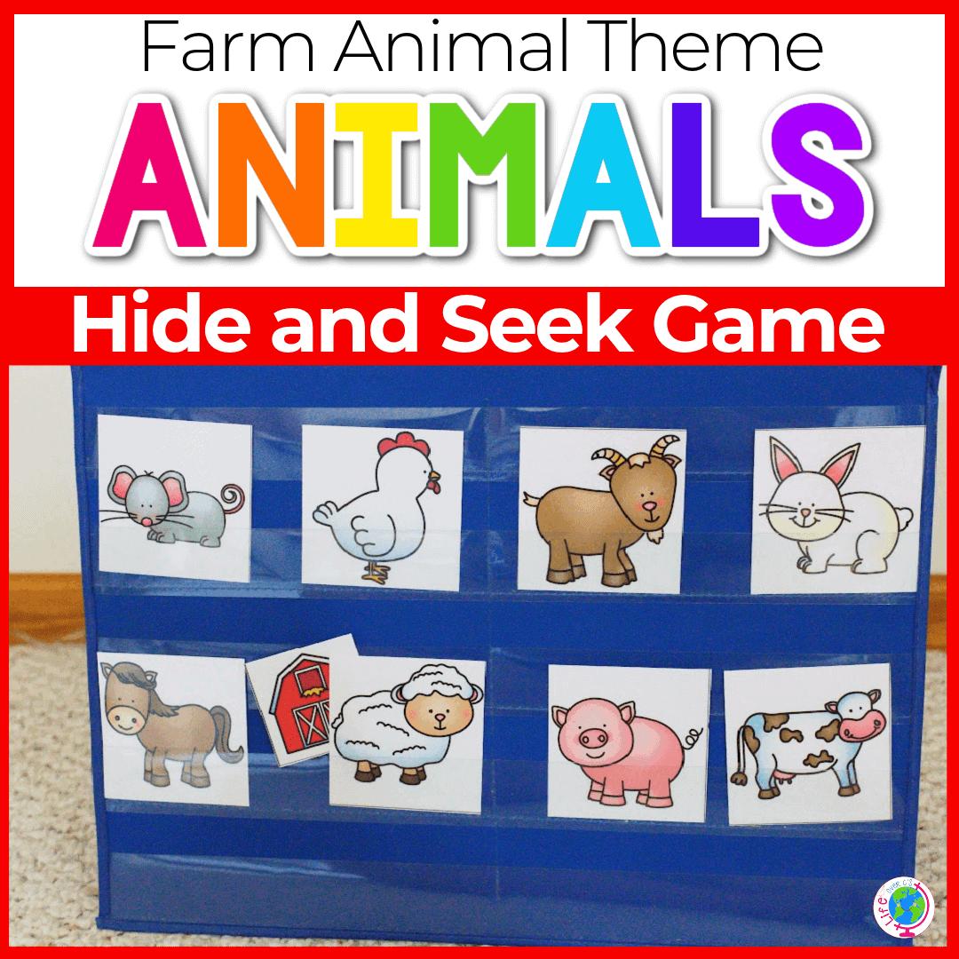 Printable Farm Animal Hide and Seek Game for Preschool