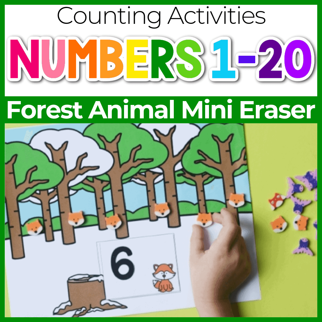 Forest Animal Mini Eraser Counting Activities for Preschool