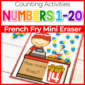 Counting to 20 with french fry mini erasers.