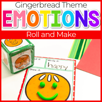 Roll an emotion Gingerbread roll and create emotions game for preschool play dough activity