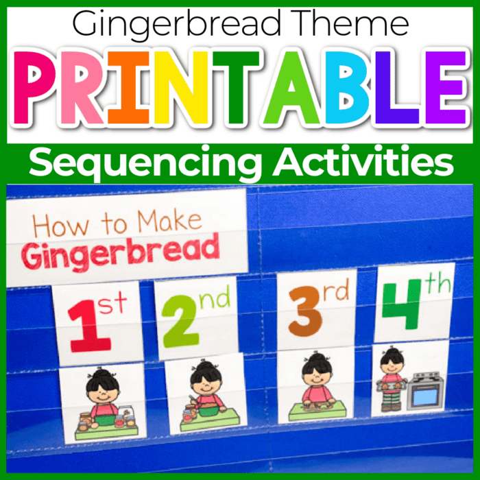 gingerbread sequencing printable for Christmas