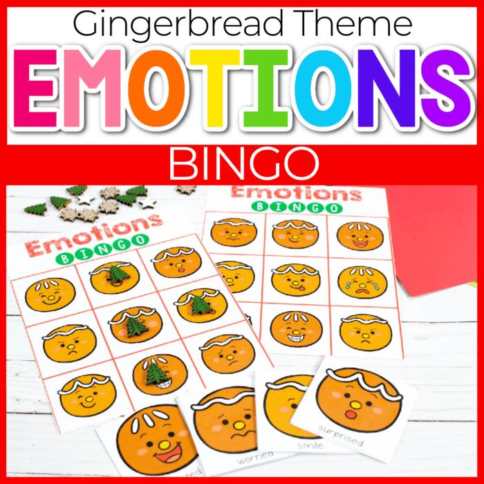 Emotions BINGO game free printable activity for preschooler Christmas theme