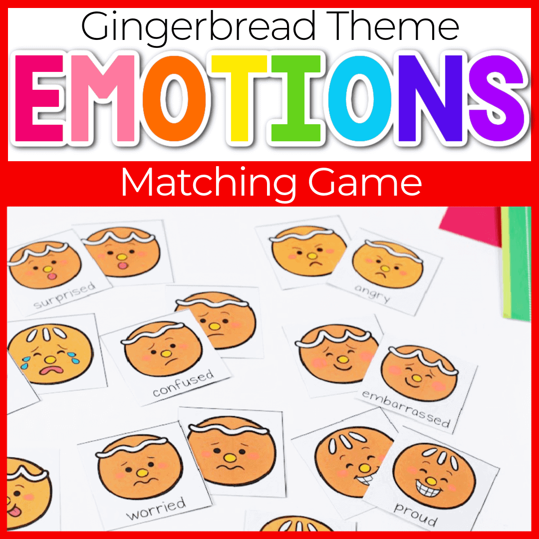 Printable Gingerbread Emotions Matching Game for Preschool