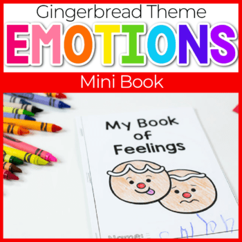 Learn to identify emotions with your preschoolers using this free printable gingerbread emotions mini book for preschoolers.