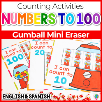 free printable number counting grids gumball mini erasers count to 10, 20 and 100 Featured Image