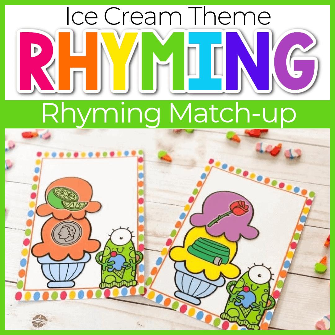 Ice Cream Rhyming Words Printable for Kindergarten