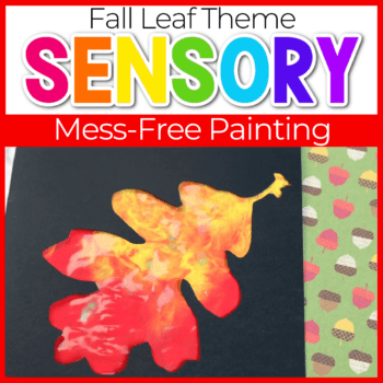 Fall sensory painting with leaf shapes for kids.