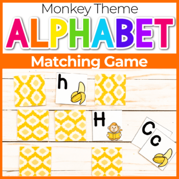 Monkey and Banana Alphabet Matching Game Printable Featured Image