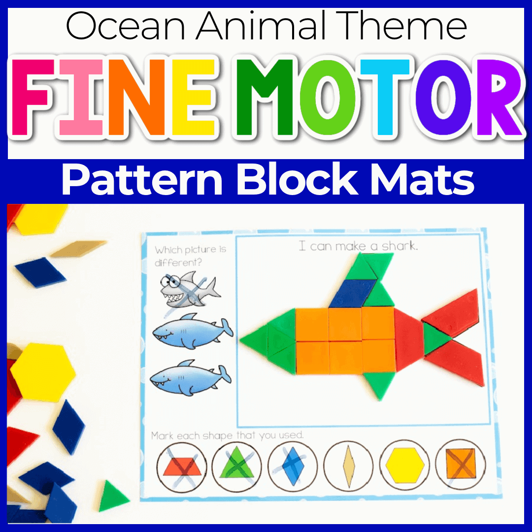 ocean animal pattern blocks printable template cards Featured Image