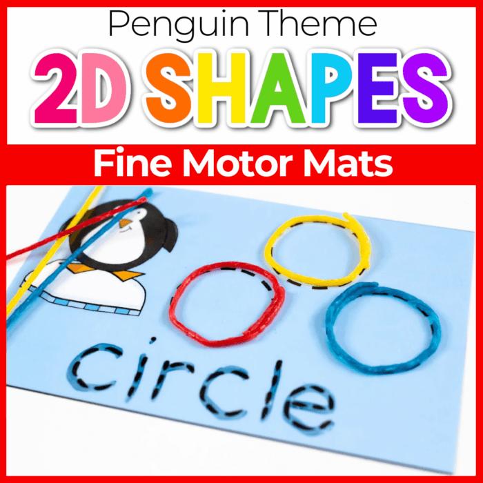Penguin shapes fine motor cards.