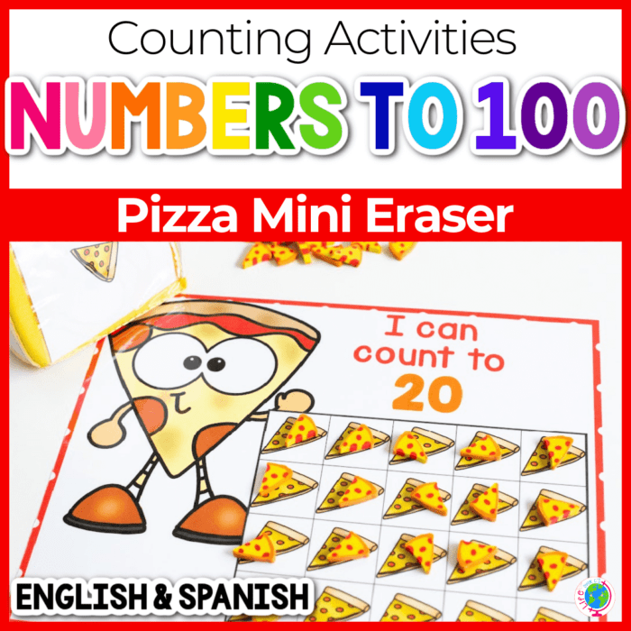 Pizza counting grids for numbers 10, 20 and 100 using pizza mini erasers Featured Image