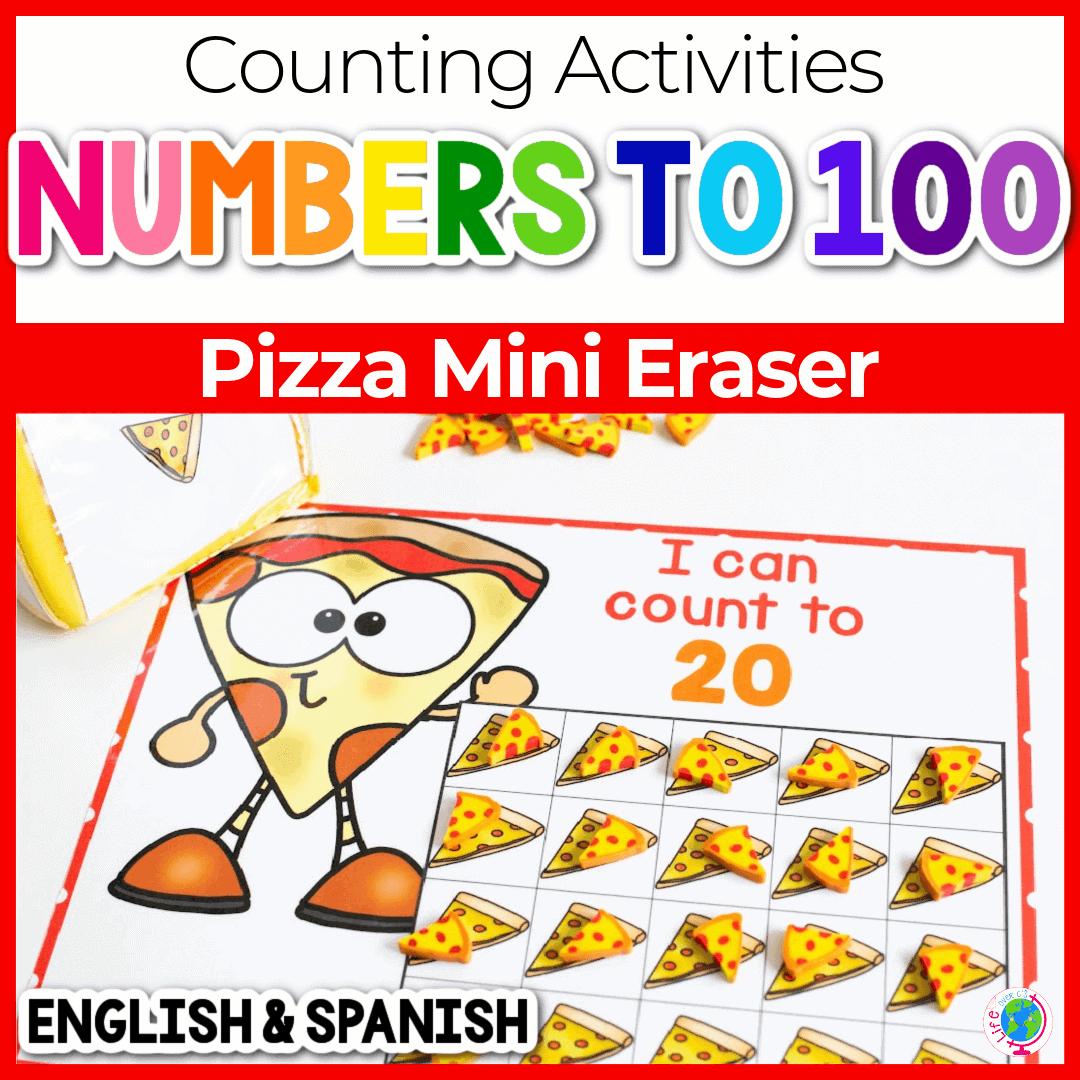 Free Pizza Mini Eraser Counting Grids For Preschool