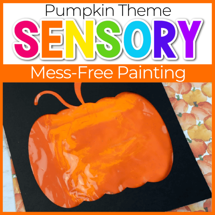 sensory painting in a bag pumpkin theme featured image