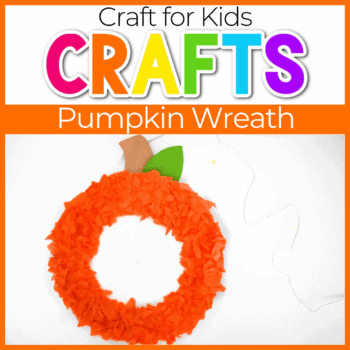 pumpkin wreath made with tissue paper fall craft for kids