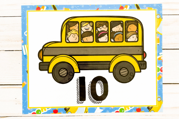 The school bus themed number poster for the number 10.