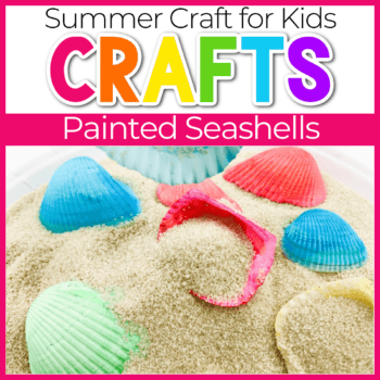 dyed sea shells in a sand sensory bin featured image
