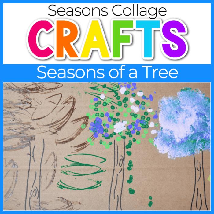 Four Seasons of Tree Craft collage craft on cardboard box