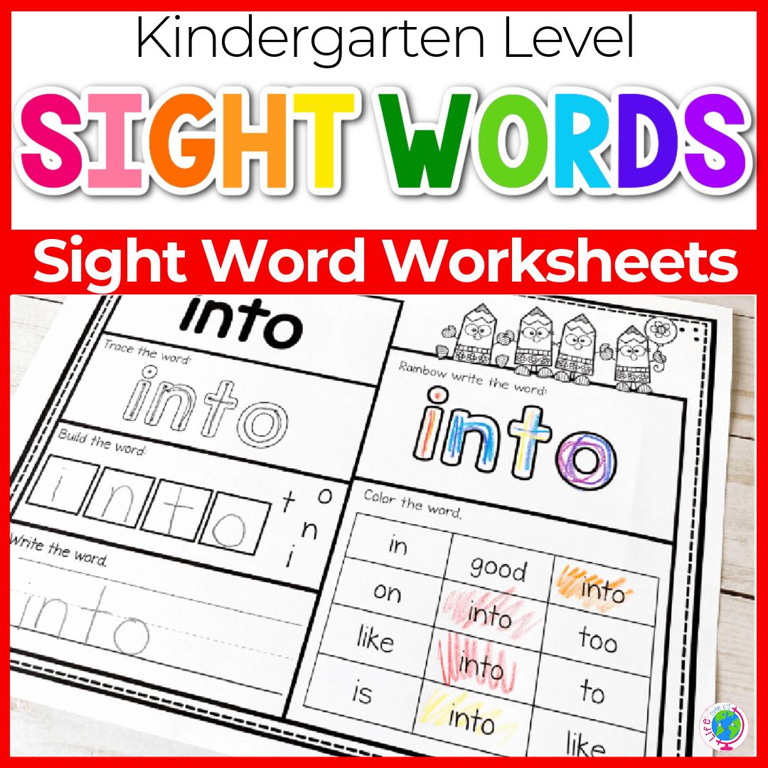 Primer kindergarten sight word worksheets. Practice sight words with your kindergarteners using these fun sight word worksheets!