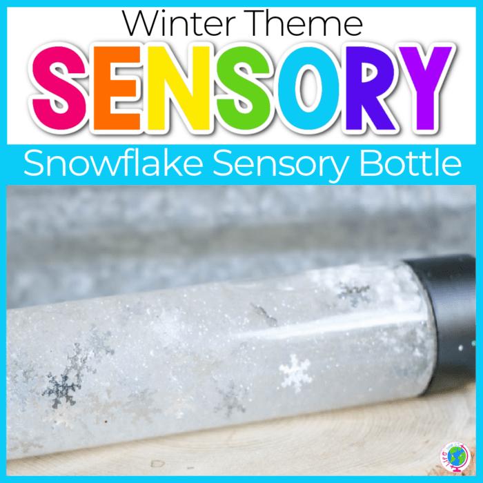 Snowflake Sensory Bottle for preschoolers.
