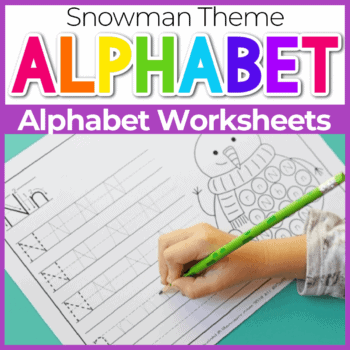 Snowman Themed Free Printable Alphabet Tracing Worksheets Featured Image