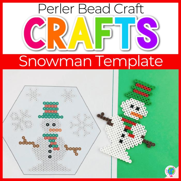 Snowman perler bead template.